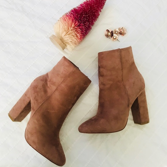f218dfee4a7 lola shoetique Shoes - Trendy blush pink suede boots with chunky heel